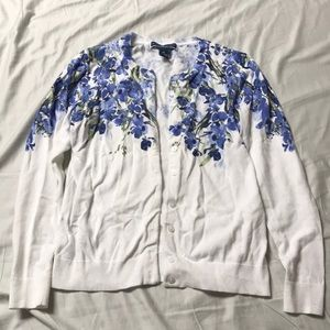Karen Scott Blue and White Flower Cardigan